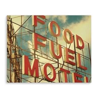 Kavka Designs Food Fuel Motel Red/Blue Canvas Art