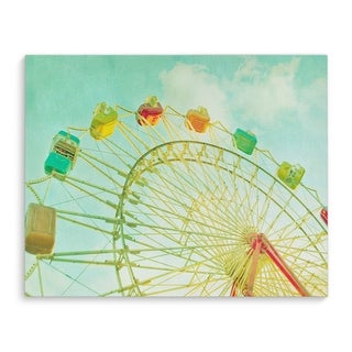 Kavka Designs Blue Summer Sky Blue/Yellow/Green Red Canvas Art