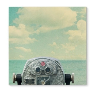 Kavka Designs Way Out There Blue/Grey/Red Canvas Art