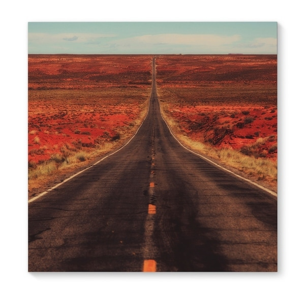 Kavka Designs The Long Way Home Grey/Red/Blue/Gold Canvas Art