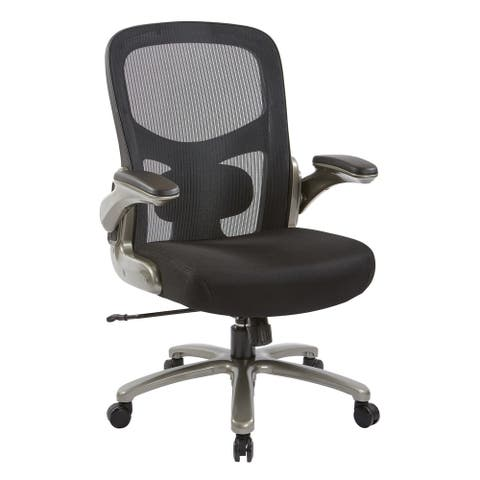 Big and Tall Black Mesh Back and Seat Executive Office Chair with Titanium Base