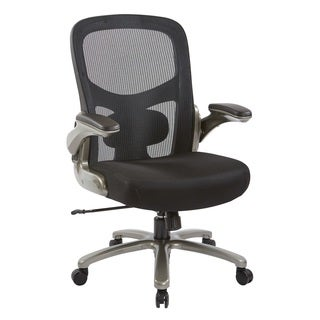 Big and Tall Black Mesh Back and Seat Executive Chair with Titanium Base