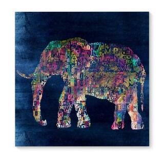Kavka Designs Elephant Blue/Green/Pink Canvas Art
