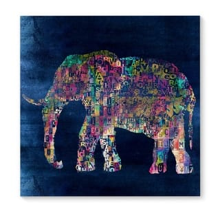 Kavka Designs Elephant Blue/Green/Pink Canvas Art