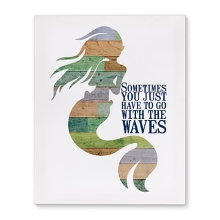 Kavka Designs With The Waves Green/Blue/Tan/Purple Canvas Art