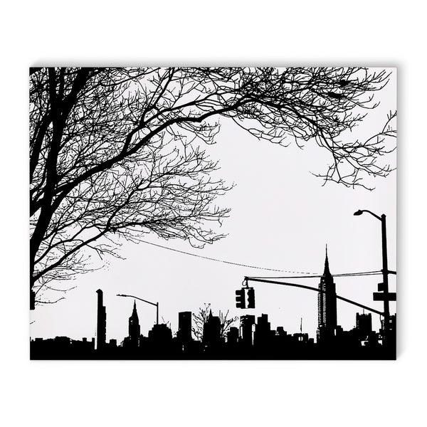 shop kavka designs nyc skyline from brooklyn black white canvas art
