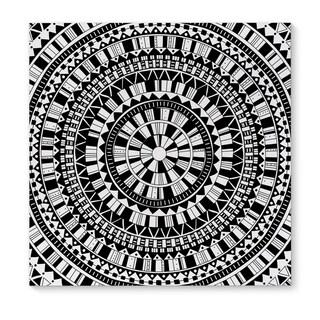 Kavka Designs Mandala Black Black/Grey/White Canvas Art