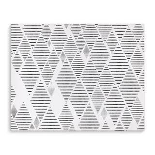 Kavka Designs Sketched Diamonds Grey/White Canvas Art
