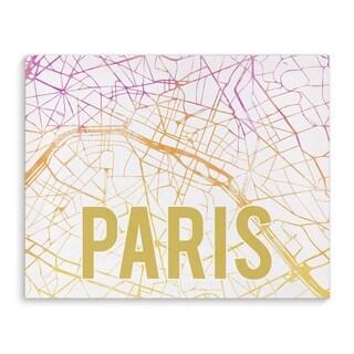 Kavka Designs Paris Pink Sunset Pink/Purple/Gold/White Canvas Art