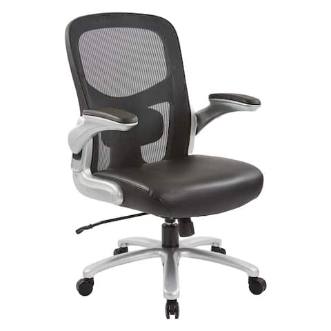 Big and Tall Mesh Back Executive Office Chair with Black Bonded Leather Seat and Silver Finish