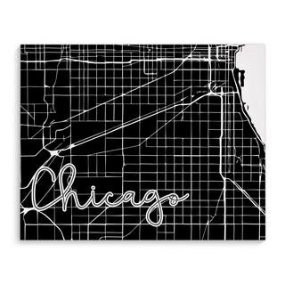 Kavka Designs Chicago Black/White Canvas Art
