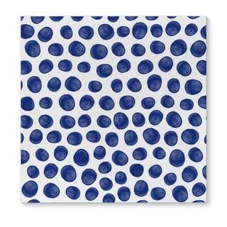 Kavka Designs Paint Dot Indigo Blue/White Canvas Art