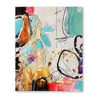 Kavka Designs Abstract School Daze Blue/Yellow/Pink/Ivory Canvas Art