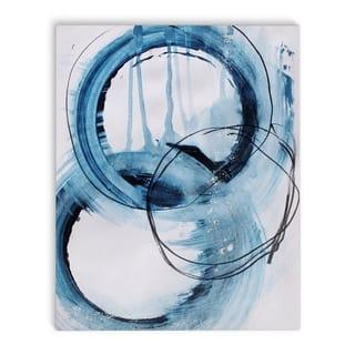 Kavka Designs Blue Abstract Set Four Blue/Ivory Canvas Art