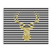 Kavka Designs Deer Stripe Black/White/Gold Canvas Art