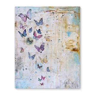 Kavka Designs Butterfly Dance Blue/Purple/Ivory Canvas Art