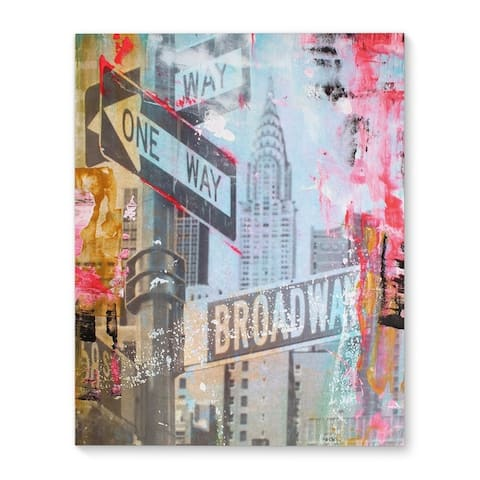 Kavka Designs NYC Abstract One Way Broadway Red/Blue/Yellow;Grey Canvas Art