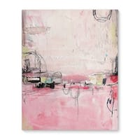 Kavka Designs Oui Oui Pink/Ivory/Grey Canvas Art
