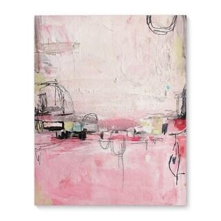 Kavka Designs Oui Oui Pink/Ivory/Grey Canvas Art