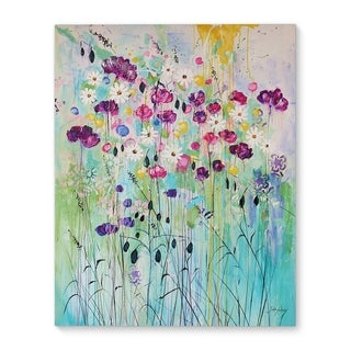 Kavka Designs Floral Play Purple/Green/Blue Canvas Art