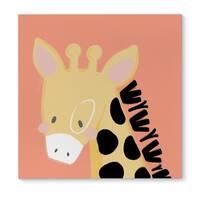 Kavka Designs Giraffe Orange/Black/Pink Canvas Art