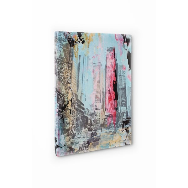 Kavka Designs NYC Abstract Times Square Red/Blue/Yellow;Grey Canvas ...