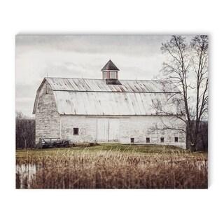 Kavka Designs Pond Barn White Canvas Art