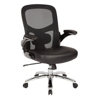 Big and Tall Mesh Back Executive Office Chair with Black Bonded Leather Seat and Chrome Base