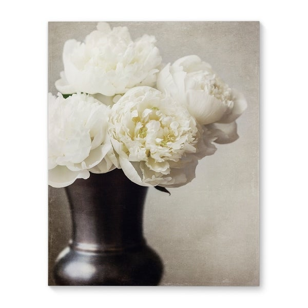 Kavka Designs Peonies in vase Ivory Canvas Art