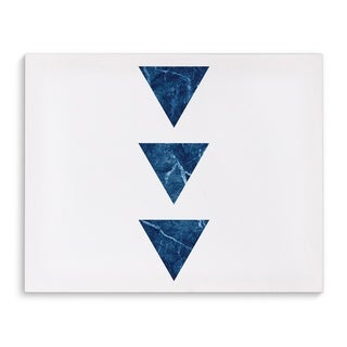 Kavka Designs Blue Three Marble Triangles Blue Canvas Art