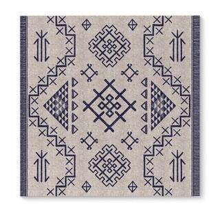Kavka Designs Aztec Light Blue Beige/Blue Canvas Art