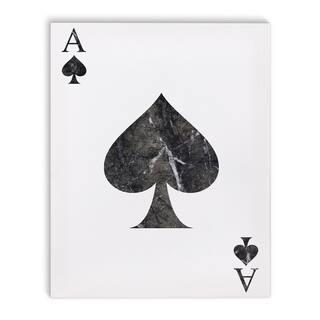 Kavka Designs Ace Of Spades Marble Black/White Canvas Art