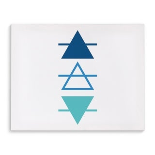 Kavka Designs Blue Ombre Line Triangles Blue/Teal Canvas Art