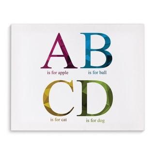Kavka Designs ABCD Purple/Blue/Yellow/Green Canvas Art