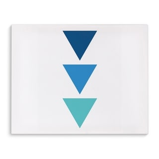Kavka Designs Blue Ombre Triangles Blue/Teal Canvas Art