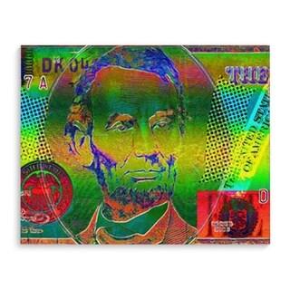 Kavka Designs Abe Lincoln Blue/Teal/Red/Orange/Green Canvas Art