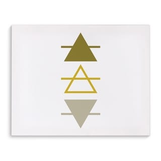 Kavka Designs Mustard Ombre Line Triangles Gold/Yellow/Tan Canvas Art