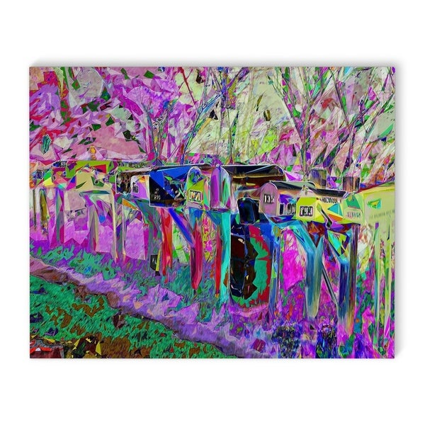 Kavka Designs Mailboxes Purple/Blue Canvas Art