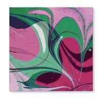 Kavka Designs Sulcus Green/Pink Canvas Art