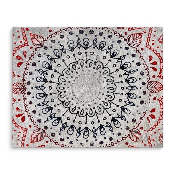 Kavka Designs Mandala Grey/Red Canvas Art