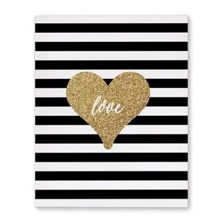 """Kavka Designs Love Heart Black/White/Gold Canvas Art (8"""" x 10"""")"""