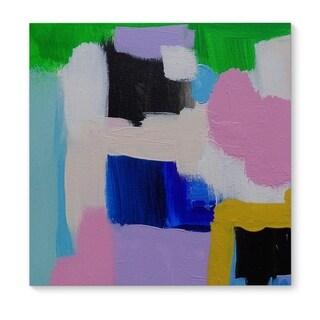 Kavka Designs What Up Green/Cream/Pink/Blue Canvas Art