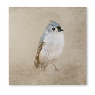 Kavka Designs One Little Bird Blue/Grey/Ivory Canvas Art