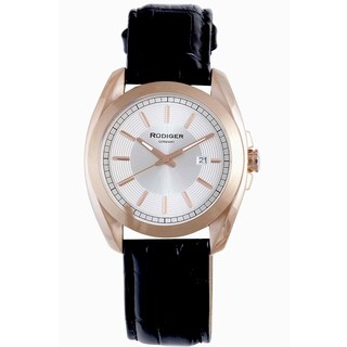 Rudiger Men's Quartz Rose tone Black Leather Strap Watch