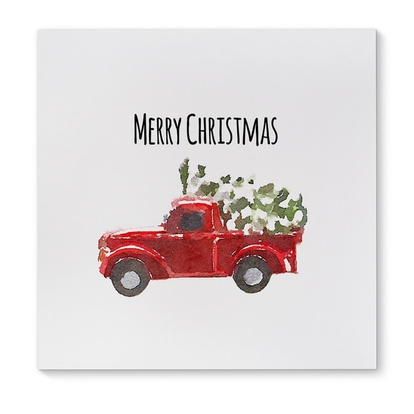 Kavka Designs Merry Christmas Truck Red Green Black White Canvas Art