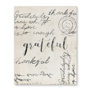Kavka Designs Thankful Grey/Ivory Canvas Art