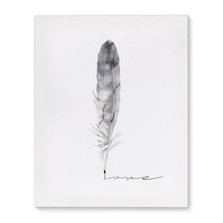 Kavka Designs Feather Love Grey Canvas Art