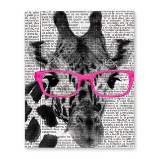 Kavka Designs Giraffe In Pink Glasses Pink/Black/White Canvas Art