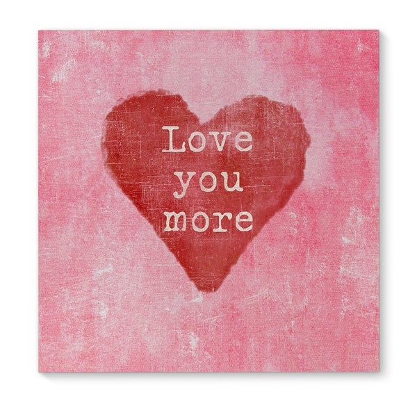 Kavka Designs Love You More Red/Pink Canvas Art
