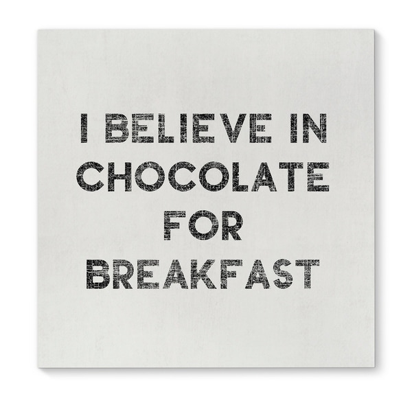 Kavka Designs Chocolate Before Breakfast Black White Canvas Art
